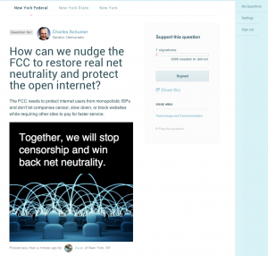 Chuck Schumer - AskThem.io sample question - net neutrality