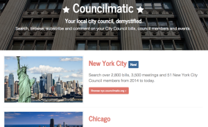 New project homepage for Councilmatic, ready to roll out nationwide.