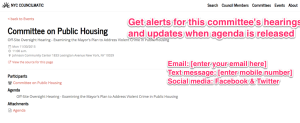 Help us develop free alerts for local issues & keywords on NYC Councilmatic, e.g. for hearing agendas.