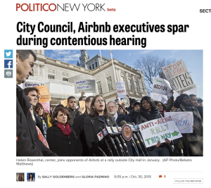 Rally for community-based AirBNB regulations, feat. CM Rosenthal. Source: http://www.capitalnewyork.com/article/city-hall/2015/10/8581374/city-council-airbnb-executives-spar-during-contentious-hearing